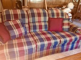 PLAID  3 pillowed couch GREAT condition