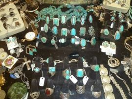 Large selection of turquoise and silver, Native American and Mexican.