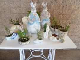 Shabby chic Easter items and garden