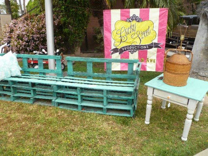 Large turquoise patio bench