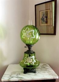 ANTIQUE GREEN GLASS LAMP