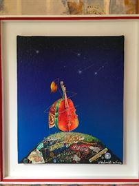 Artist: Meloniski Da Villacidro, Title: Musician, Medium: Mixed media on canvas