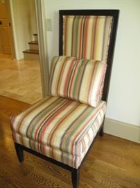 Striped Henredon chair matches sofa