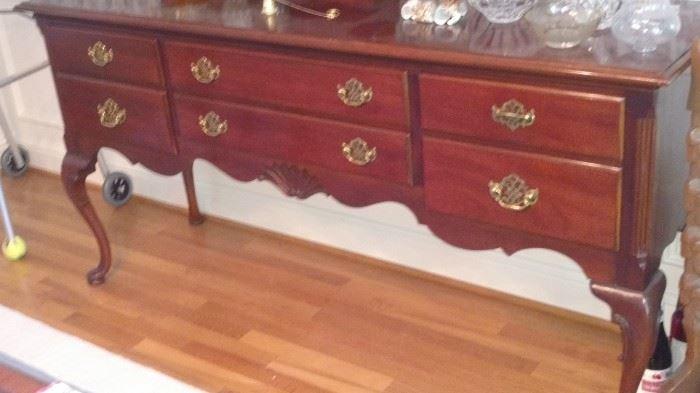Queen Anne sideboard with flatware storage insert
