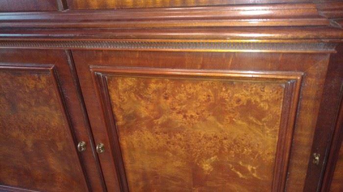 detail of veneer on breakfront