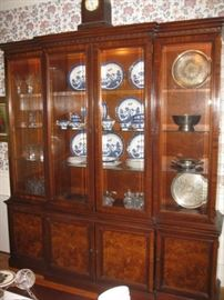 Large lighted breakfront with drawers