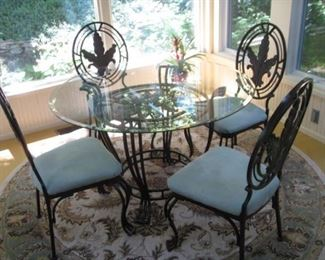 Metal and glass table and four chairs