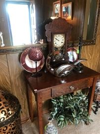 Antique Table, Antique Clock,