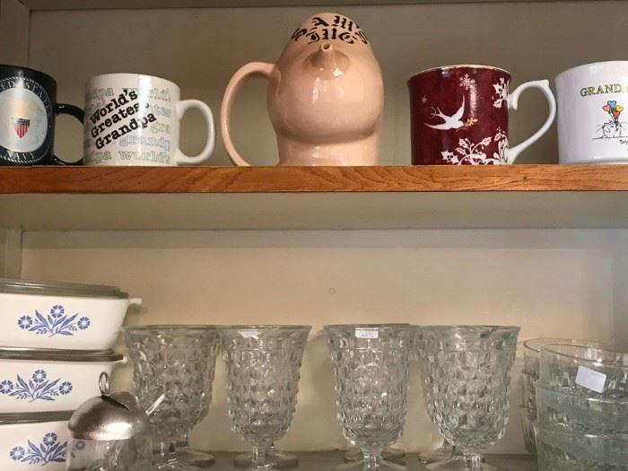 Mug Collection, Vintage Fostoria American Glassware