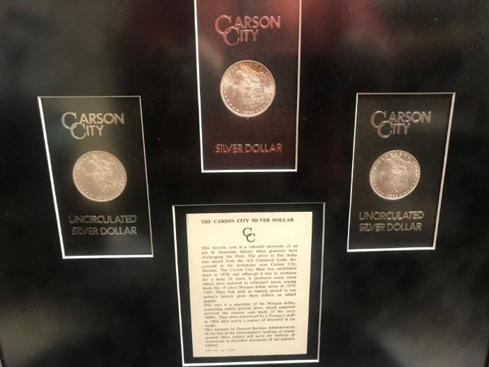 Framed Carson City Coins, 1878, 1883, 1882