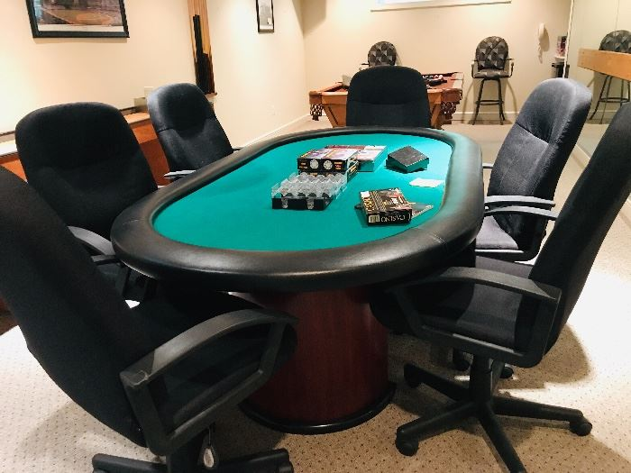 Casino style poker with 6-chairs