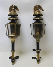 A Pair of Antique Carriage Lanterns with Eagle