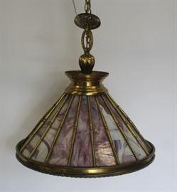 Antique Brass Chandelier With Slag Glass Inserts