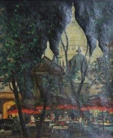 ARAMOV Oil on Canvas Cafe at Night