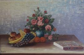 BADU Oil on Canvas Floral Still Life