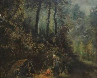 ALBERT Oil on Canvas Camping Scene