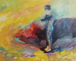 AISCH Signed Oil On Canvas Matador
