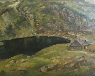 A STENTZEL Oil on Canvas Landscape with Mountain
