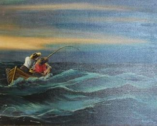 ALMONT Signed Oil on Canvas Fishing Scene