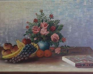 BADU Oil on Canvas Floral Still Life