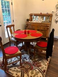 Vintage round pedestal table with 4 chairs and antique server