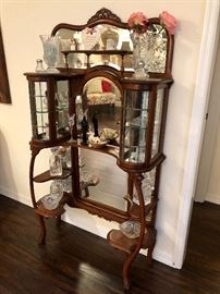 A second etagere with cut glass items