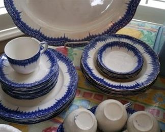flow blue dinnerware set for six 'Patricia' by Hanley, England
