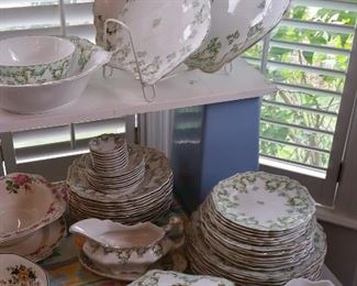 gorgeous set of Johnson Bros. decorated ironstone 'Cloverly' green and gold decor