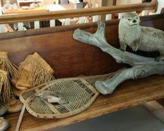 Church pew, leather fringe boots, snowshoes and Peter the Otter (great piece of taxidermy)