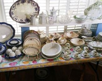 Lots of antique dinnerware - ironstone, flow blue, Johnson Bros, Woods Ware. Early American Pressed Glass too!