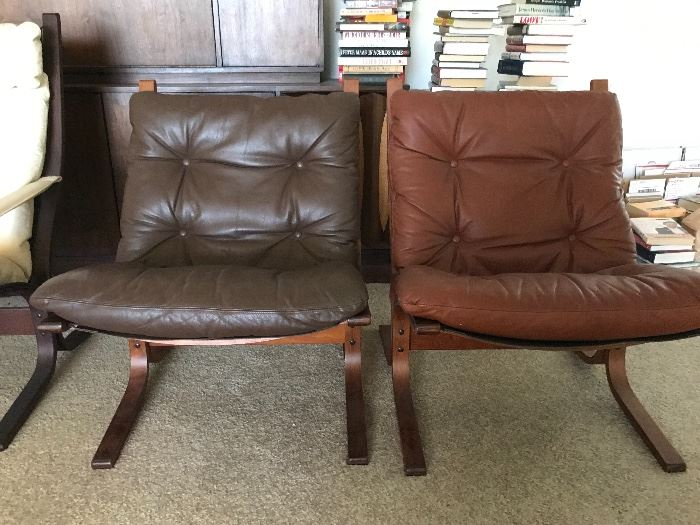 2 L.B. Siesta Chairs Mexican Brown and Colorado Brown purchased at Scandinavia Furniture Store in Lenexa Kansas. marked (Westnofa Sweden)
