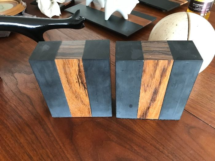 Harpswell 300 million year old black slate and hardwood bookends