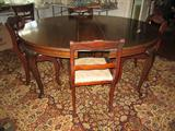 Beautiful Vintage table with 6 French Rose Carved chairs and two leafs