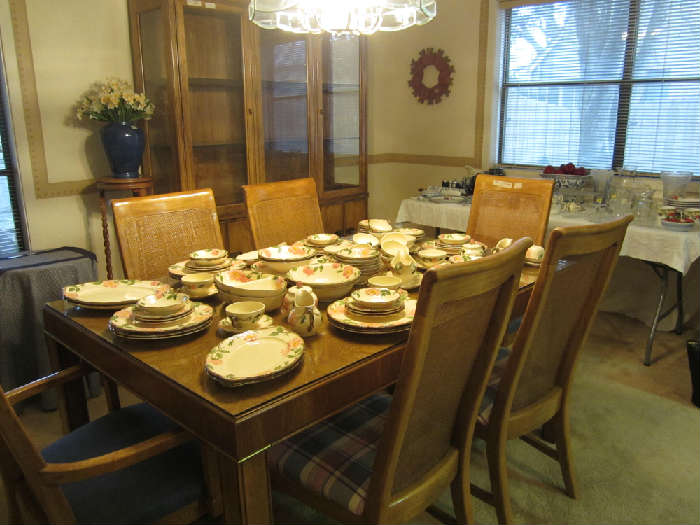 Beautiful Solid Wood Blonde Table with 6 Chairs and Matching China Cabinet