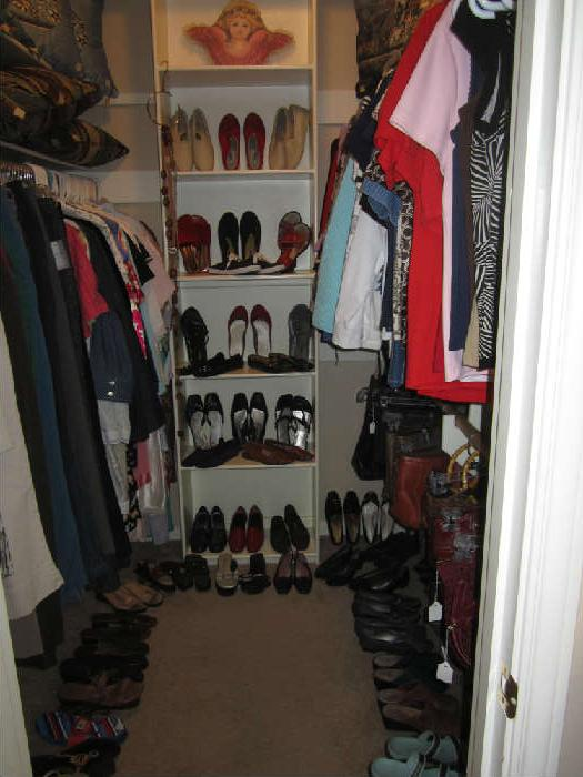 This Closet is Full of Lovely Women's Clothing, Nightware, Sm, Med, and Large Sizes, plus LOTS of Shoes 7.5-8s.  Also in this closet are MORE Purses and Decorative Pillows.