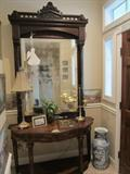 Gorgeous American Entrance/Hall Mirror.  Beginning of the Eastlake Period. 1865-1870.