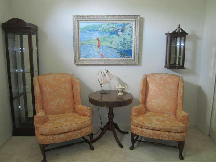 Wing Back Chairs, Beautiful Oil Painting, Mahogany Drum Table, Curio Cabinet and Walnut Wall Display Unit