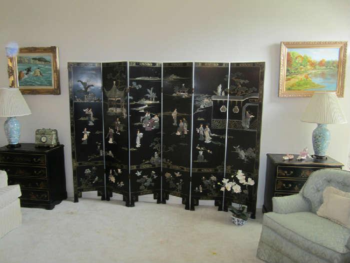 Beautiful Chinese Lacquer Soapstone 6 Panel Screen