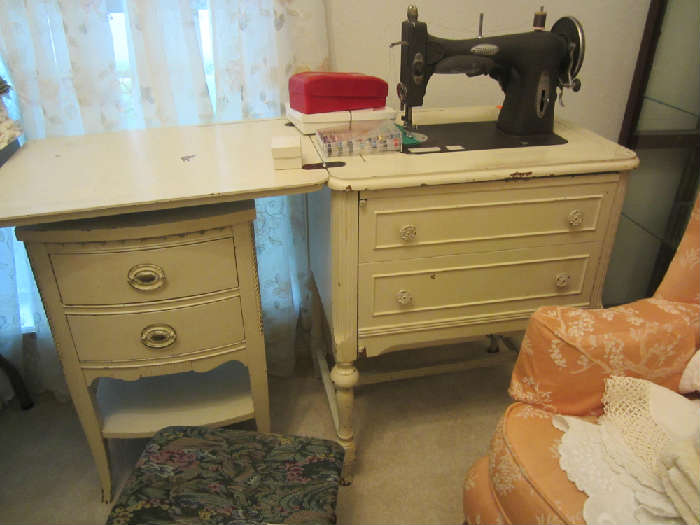 White Rotary Sewing Machine With Cabinet Night Stand Under the Sewing Machine