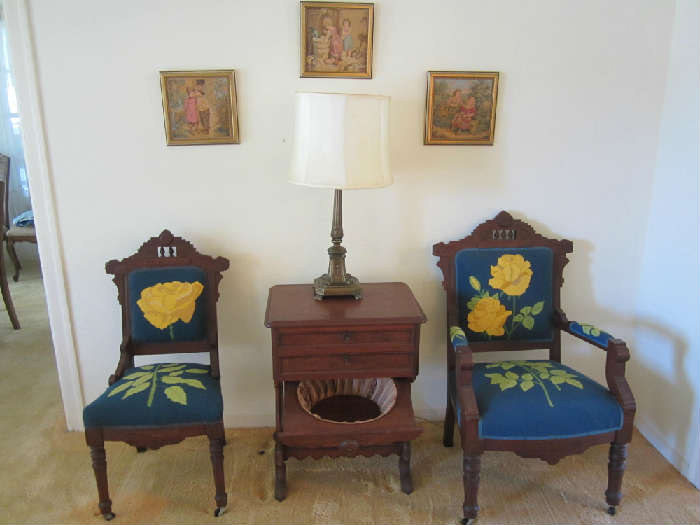 Eastlake Chairs. Eastlake version of Martha Washington Sewing Cabinet the family has pulled from the sale. Sorry