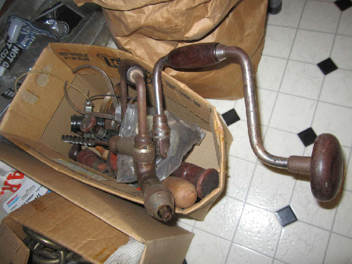 Antique Drill Brace And Bits