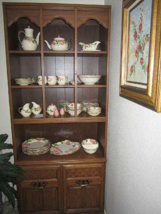 Desert Rose Dishes and Book Shelf