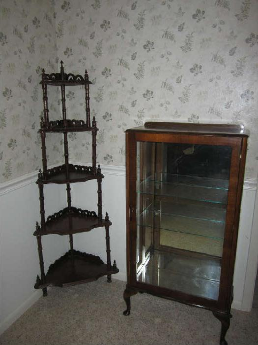 Lighted, Mirrored, Display Case and 5 Tiered Vintage Corner Shelf