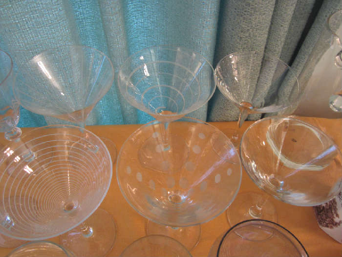 Cool Vintage Etched Martini Glasses