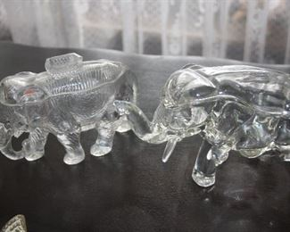 GLASS ELEPHANT CANDY DISHES