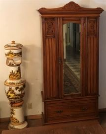 Late Victorian Armoire Golden Oak & Walnut orig from Norfolk, England