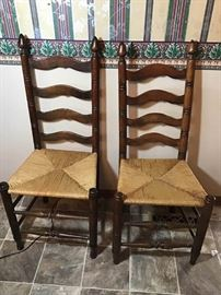 2 Ladder Back Chairs with Rush Seats