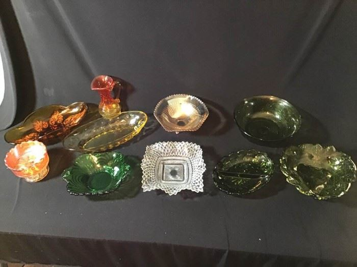 Assortment of Colored Glass Items
