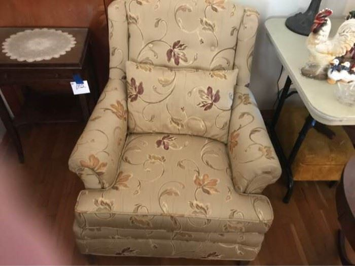 Khaki Floral Accent Chair