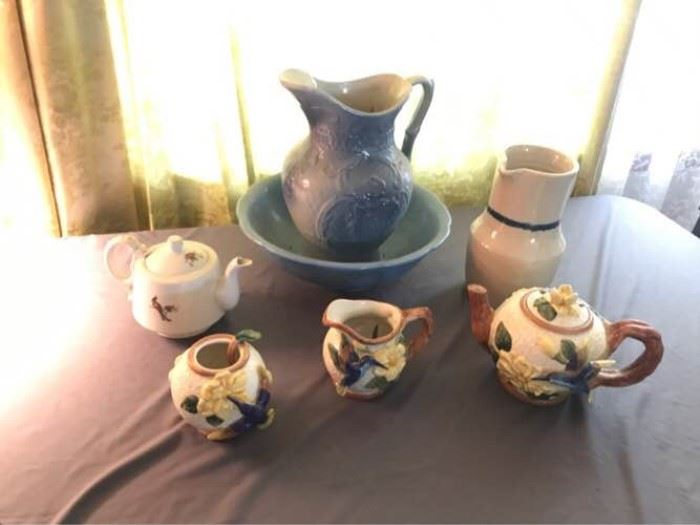 Vintage Pitcher/Wash Basin and Assorted Teapots